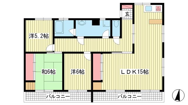 物件番号: 1025883322 メゾン熊内台  神戸市中央区熊内町8丁目 3LDK マンション 間取り図