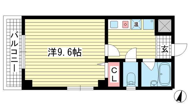 物件番号: 1025883323 シダヴィレッジ  神戸市中央区多聞通2丁目 1K マンション 間取り図