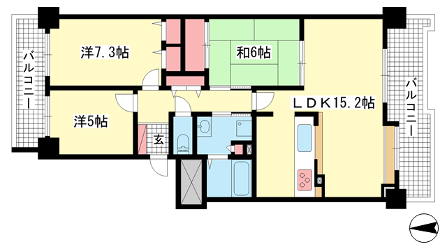 物件番号: 1025883326 RICイーストコート10番街3番館  神戸市東灘区向洋町中3丁目 3LDK マンション 間取り図