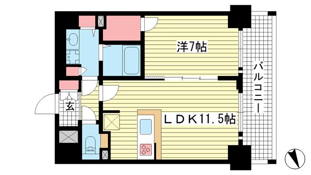物件番号: 1025883328 プレサンス THE 神戸  神戸市兵庫区西出町 1LDK マンション 間取り図