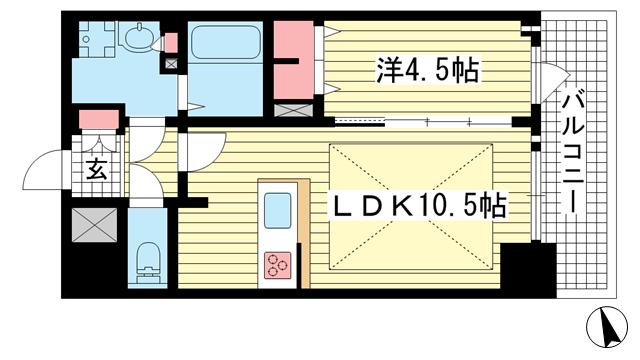 物件番号: 1025883329 プレサンス THE 神戸  神戸市兵庫区西出町 1LDK マンション 間取り図