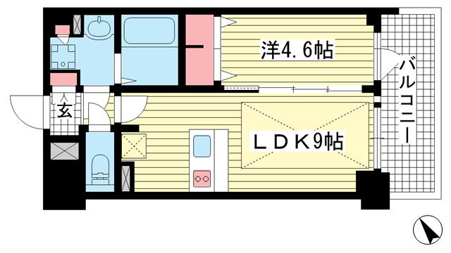 物件番号: 1025883331 プレサンス THE 神戸  神戸市兵庫区西出町 1LDK マンション 間取り図