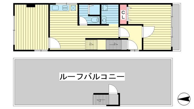 物件番号: 1025883343 ラジマンション  神戸市中央区山本通2丁目 2DK マンション 間取り図