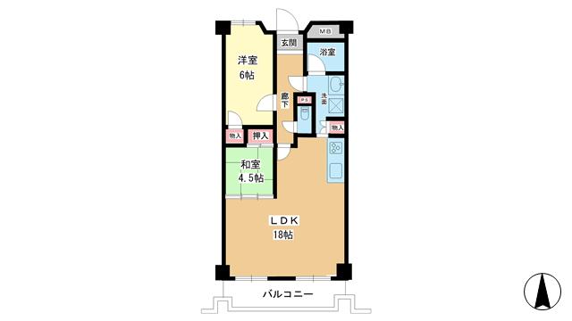 物件番号: 1025883344 ファサード御影  神戸市東灘区御影2丁目 2LDK マンション 間取り図