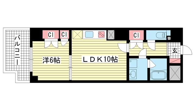 物件番号: 1025883347 メゾンフローラ  神戸市中央区花隈町 1LDK マンション 間取り図