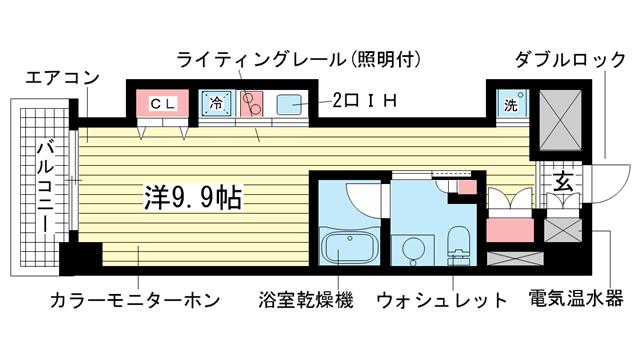 物件番号: 1025883350 レジディア神戸磯上  神戸市中央区磯上通3丁目 1K マンション 間取り図
