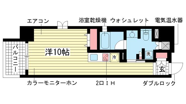 物件番号: 1025883351 レジディア神戸磯上  神戸市中央区磯上通3丁目 1K マンション 間取り図