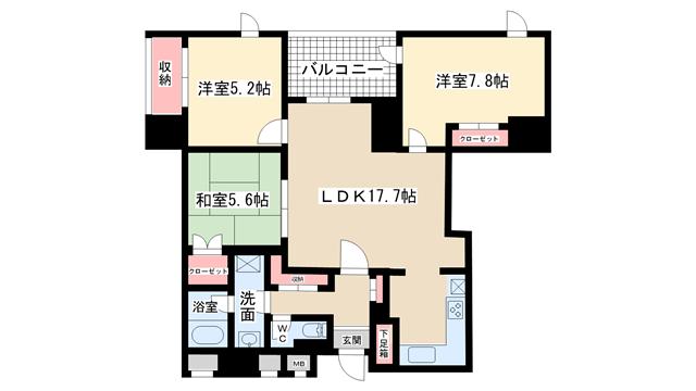 物件番号: 1025883353 新神戸アパートメント  神戸市中央区熊内町4丁目 3LDK マンション 間取り図