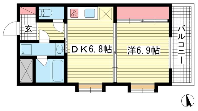 物件番号: 1025883354 甲南セラード東灘  神戸市東灘区森北町3丁目 1DK マンション 間取り図