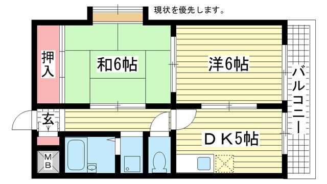 物件番号: 1025883356 グランディア ルネッサンス野崎通り  神戸市中央区野崎通2丁目 2DK マンション 間取り図