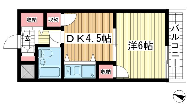 物件番号: 1025883357 ライオンズスクエア神戸元町  神戸市中央区栄町通6丁目 1DK マンション 間取り図
