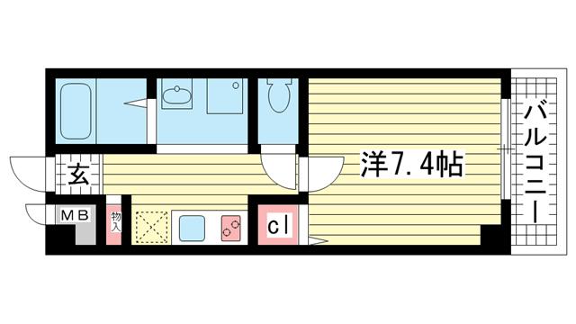 物件番号: 1025883358 パラッツォ春日野  神戸市中央区大日通6丁目 1R マンション 間取り図