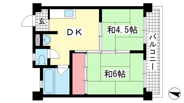 物件番号: 1025883361 メゾン琵琶  神戸市灘区琵琶町1丁目 2DK マンション 間取り図