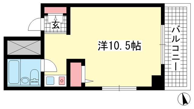 物件番号: 1025883364 ダイアパレス新神戸  神戸市中央区生田町1丁目 1K マンション 間取り図