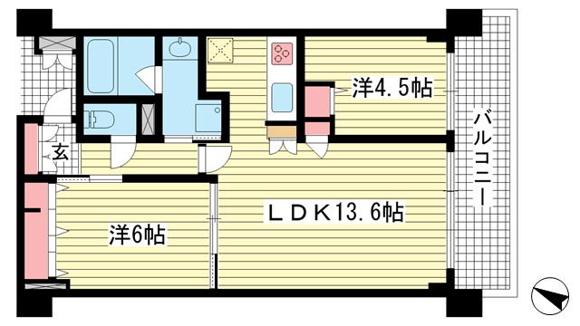 物件番号: 1025883366 ワコーレザ・神戸トアロード  神戸市中央区中山手通3丁目 2LDK マンション 間取り図