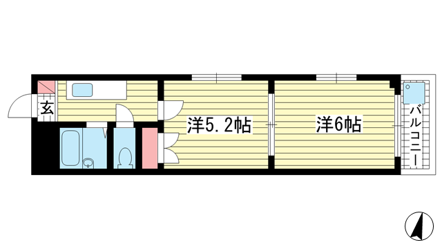 物件番号: 1025883370 中間東雲ハイツ  神戸市中央区東雲通1丁目 2K マンション 間取り図