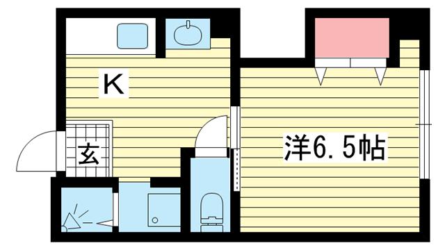 物件番号: 1025883371 新井マンション  神戸市中央区脇浜町3丁目 1K マンション 間取り図