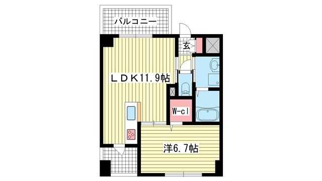 物件番号: 1025883388 シークリサンス神戸  神戸市灘区灘北通10丁目 1LDK マンション 間取り図