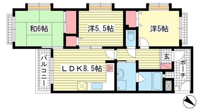 物件番号: 1025883390 ワコーレヒルズ大谷  神戸市長田区大谷町3丁目 3SLDK マンション 間取り図