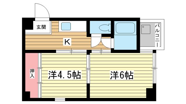 物件番号: 1025883391 シャトーヒロ  神戸市中央区二宮町1丁目 2K マンション 間取り図