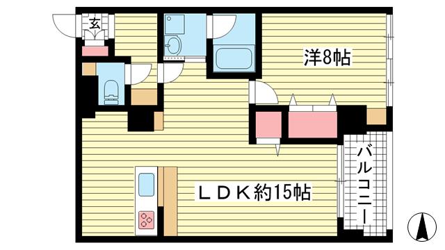 物件番号: 1025883393 ワコーレアルテ上筒井  神戸市中央区野崎通3丁目 1LDK マンション 間取り図