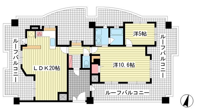 物件番号: 1025883394 ワコーレウインズヴァレー三宮東  神戸市中央区筒井町2丁目 2LDK マンション 間取り図