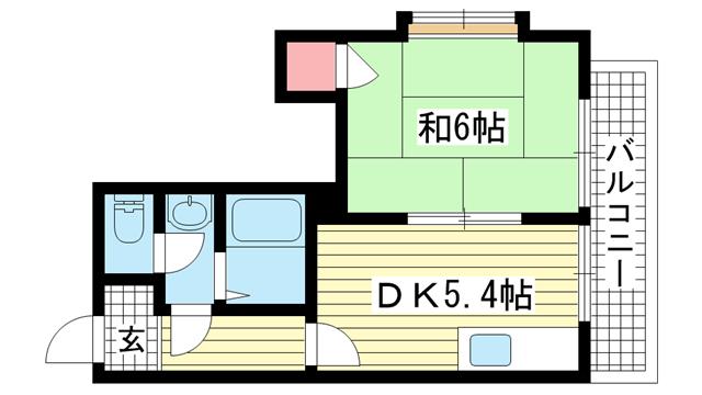 物件番号: 1025883395 信成ハイツ  神戸市兵庫区本町1丁目 1DK マンション 間取り図