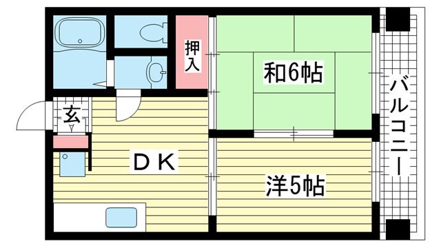 物件番号: 1025883396 信成ハイツ  神戸市兵庫区本町1丁目 2DK マンション 間取り図