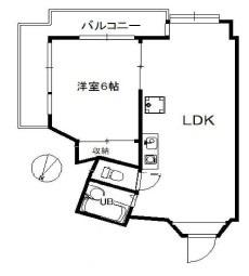 物件番号: 1025883401 サンハイツ新田  神戸市灘区六甲台町 1LDK マンション 間取り図