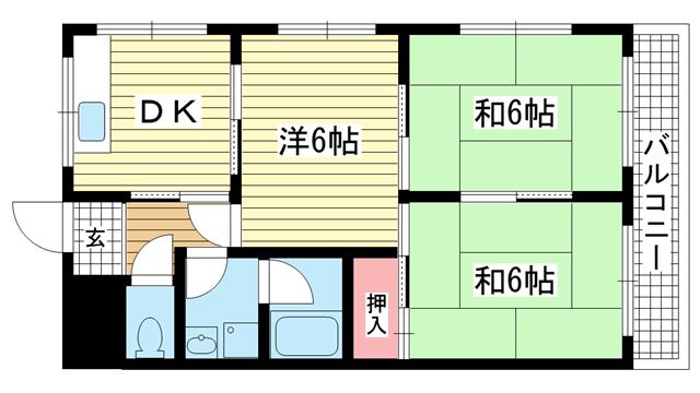 物件番号: 1025883402 東雲レジデンス(旧:エバーグリーン東雲  神戸市中央区東雲通2丁目 3DK マンション 間取り図