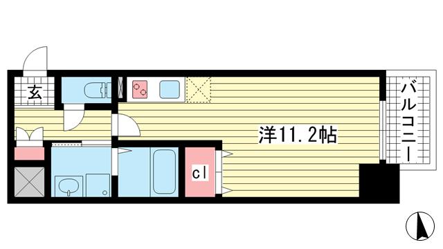 物件番号: 1025883421 SDグランツ新神戸  神戸市中央区布引町2丁目 1R マンション 間取り図