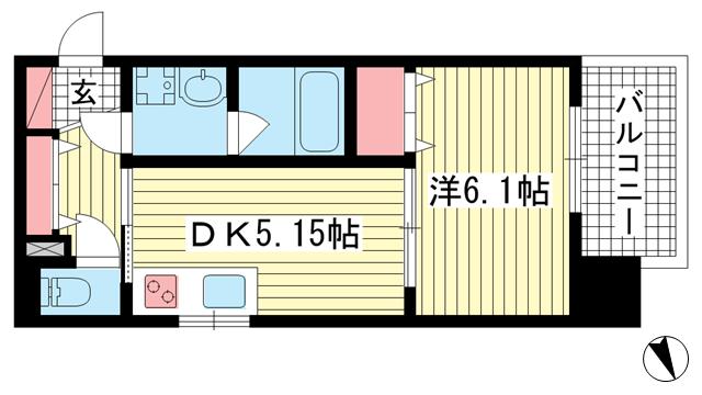 物件番号: 1025883426 プリオーレ神戸新開地  神戸市兵庫区湊町3丁目 1DK マンション 間取り図