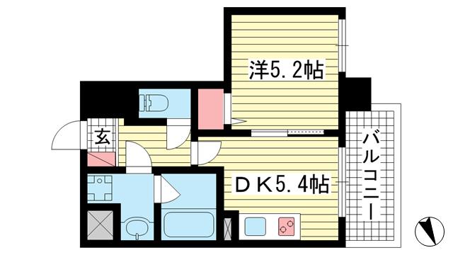 物件番号: 1025883427 プリオーレ神戸新開地  神戸市兵庫区湊町3丁目 1DK マンション 間取り図