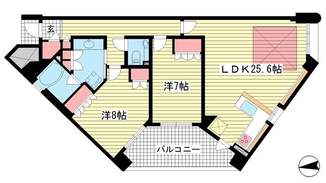 物件番号: 1025883431 ワコーレ ザ・トアロードレジデンス  神戸市中央区中山手通2丁目 2LDK マンション 間取り図