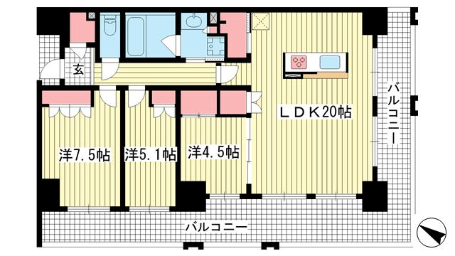 物件番号: 1025883432 ワコーレ神戸三宮トラッドタワー  神戸市中央区磯辺通4丁目 3LDK マンション 間取り図