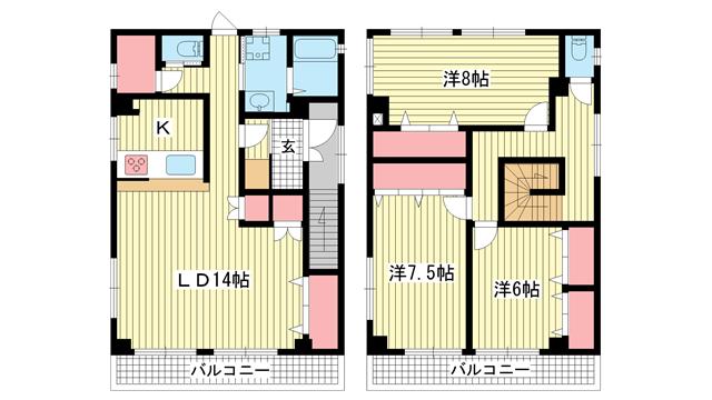 物件番号: 1025883433 STELLA兵庫  神戸市兵庫区三川口町3丁目 3LDK マンション 間取り図