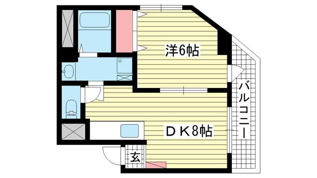 物件番号: 1025883436 カーサ森  神戸市東灘区本庄町2丁目 1DK マンション 間取り図
