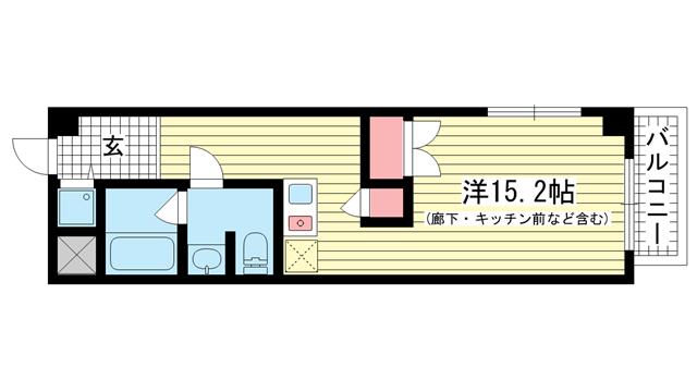 物件番号: 1025883455 SUN MALL KOH  神戸市東灘区深江本町3丁目 1R マンション 間取り図