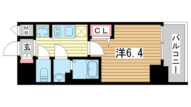 物件番号: 1025883466 プレサンス神戸キュリオ  神戸市中央区相生町5丁目 1K マンション 間取り図