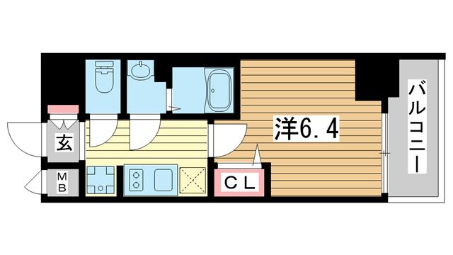 物件番号: 1025883543 プレサンス神戸キュリオ  神戸市中央区相生町5丁目 1K マンション 間取り図