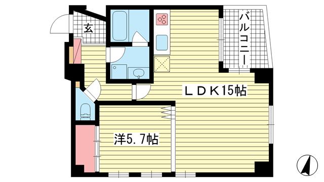 物件番号: 1025883549 サンビルダー北野異人館通  神戸市中央区北野町4丁目 1LDK マンション 間取り図