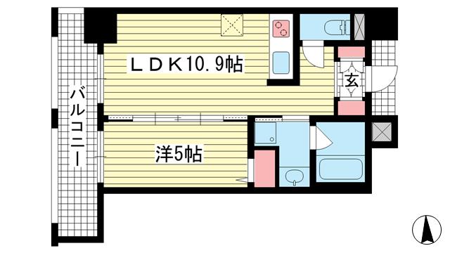物件番号: 1025883550 ワコーレ神戸三宮マスターズレジデンス  神戸市中央区加納町3丁目 1LDK マンション 間取り図