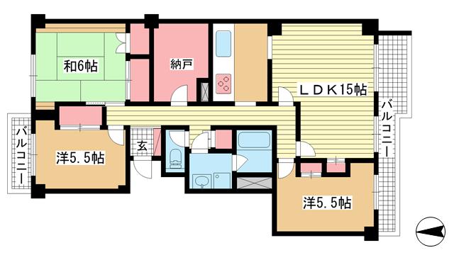 物件番号: 1025883551 メゾン白鶴  神戸市東灘区御影山手1丁目 3SLDK マンション 間取り図