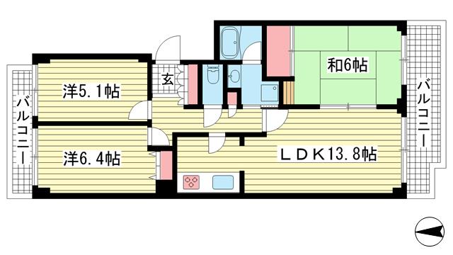 物件番号: 1025883554 神戸パークシティC棟  神戸市中央区港島中町6丁目 3LDK マンション 間取り図