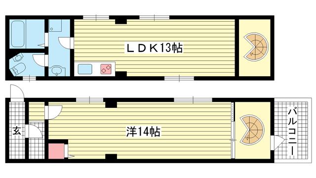 物件番号: 1025883556 風早ビル  神戸市兵庫区三川口町3丁目 1LDK マンション 間取り図