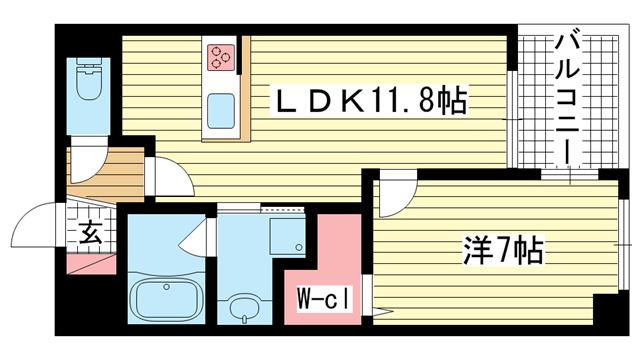 物件番号: 1025883557 ワコーレ中山手通D.C.  神戸市中央区中山手通5丁目 1LDK マンション 間取り図