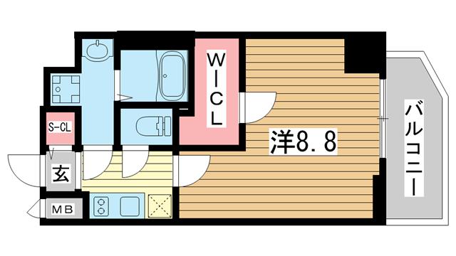 物件番号: 1025883602 プレサンス神戸元町ベルシオン  神戸市中央区海岸通4丁目 1K マンション 間取り図
