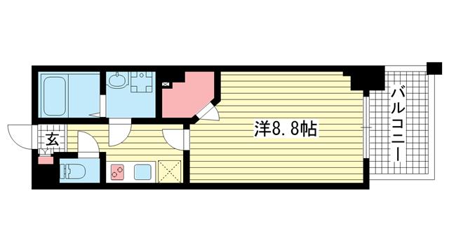 物件番号: 1025883603 ワコーレヴィータ湊川公園  神戸市兵庫区福原町 1K マンション 間取り図