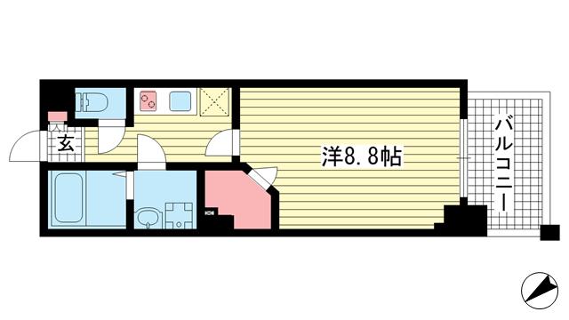 物件番号: 1025883606 ワコーレヴィータ湊川公園  神戸市兵庫区福原町 1K マンション 間取り図