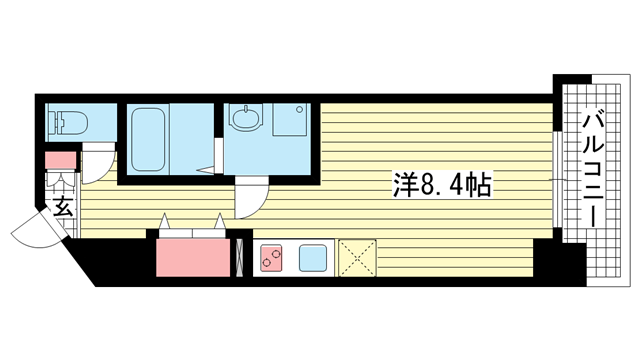物件番号: 1025883612 ワコーレヴィータ湊川公園  神戸市兵庫区福原町 1K マンション 間取り図